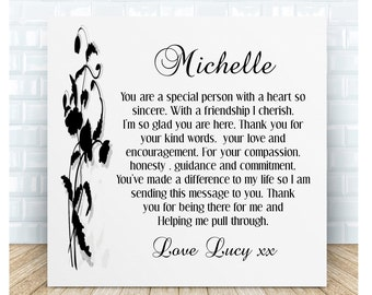 Friend Thank You Poem Ceramic Plaque. Personalised Gift.