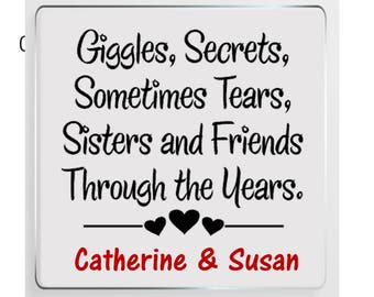 Sister Message Personalised Glass Plaque - True Friendship
