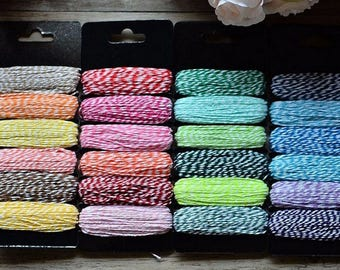 45 Meters Cotton Bakers Twine Stripe in 6 Colors. Wedding Party Gift Craft Package Supplies. Wrapping twine 1mm