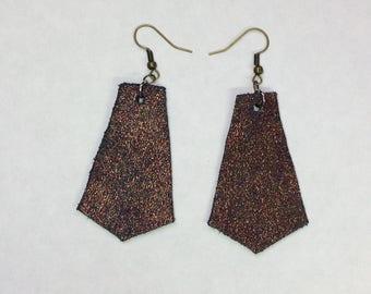 Sparkles golden blue leather earrings geometric bohemian