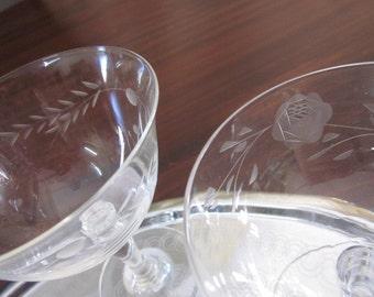 Very Pretty High Tea Bridal Shower mismatched set Champagne dessert bowls Sweet Floral etching stemmed glasses