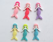 Mermaid Girl Tails Water Ocean Mythical Resin Cabochons Hair Bands Decoden Kawaii Bright Colors