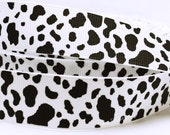 "Cow Black and White Fur Pattern Animal Farm Printed Grosgrain Ribbon 7/8"" wide Scrapbooking HairBows Parties DIY Projects AZ247"