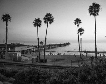 Black and White San Clemente Pier Sunset - California Pacific Ocean Beach Sea Coastal Wall Art Photography Print