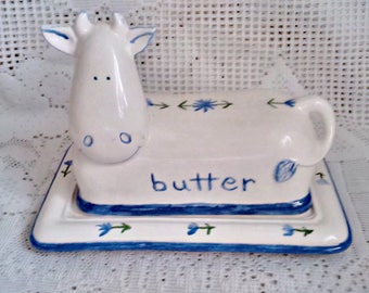 Cow Covered Butter dish White with Blue Flowers * Blue Rim