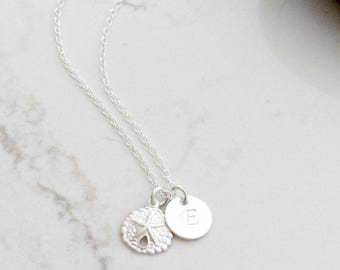 Personalized Initial Necklace with Sand Dollar 925 Sterling Silver circle disc monogram necklace monogram jewelry handstamped letter jewelry