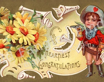 Digital Download of Heartiest Congratulations Vintage Postcard