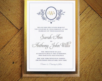Great Gatsby Gold Foil Wedding Invitation Silver Or Rose