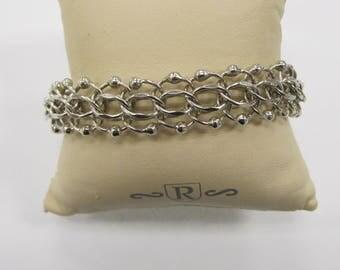 Vintage Sterilng Silver Wide Bracelet W #504