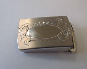 Vintage Sterling Silver Ornate Etched Belt Buckle