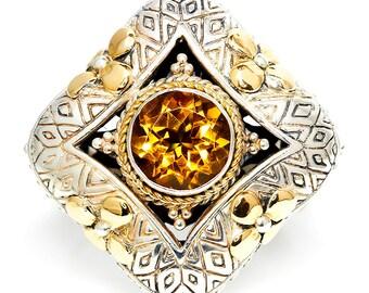 Eleganza Citrine Ring in Sterling Silver & 18kt Yellow Gold November Birthstone
