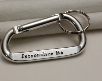 Personalized Carabiner keychain for dad, Coordinate keychain