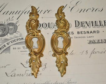 Vintage Pair French Brass Keyholes Vertical Escutcheons Hardware