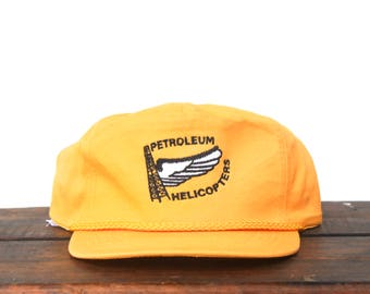 Vintage Petroleum Helicopters Oil Gas Chopper Flying Winged Trucker Hat Snapback Baseball Cap