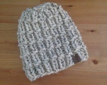 Chunky Knit Beanie Hat in Oatmeal