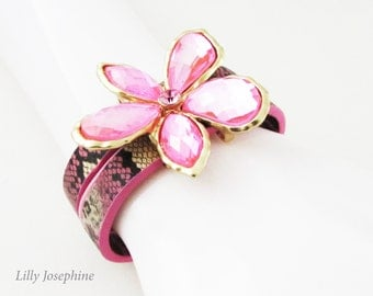 Hot Pink Leather Cuff with Crystal Flower, Pink Crystal Cuff Bracelet, Pink Leather Cuff, Pink Bracelet, Pink Flower Bracelet, Pink Cuff