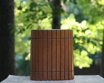 Vintage Wooden Slatted Trash Can with  / Walnut Trash Can /  Slatted Wooden Waste Basket