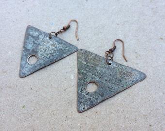 Organic Copper Patina Earring