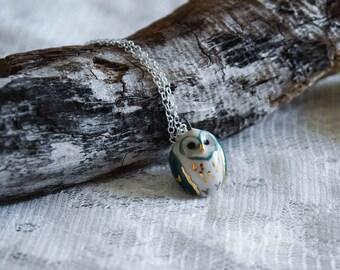 Forest green Porcelain Owl Necklace