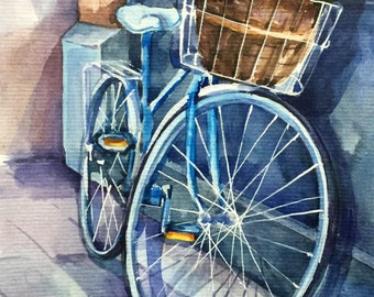 Bicycle with flower busket, Rose flowers, cityscape ORIGINAL WATERCOLOR PAINTING