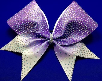 Royalty with ombre, cheerbow lavender rhinestone cheer bow, Lavender ombre cheer bow, sublimated cheer bow.