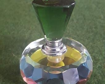 "Vintage *Hand cut Murano* (?) crystal perfume bottle w dauber, 2.5 x 2.25"""