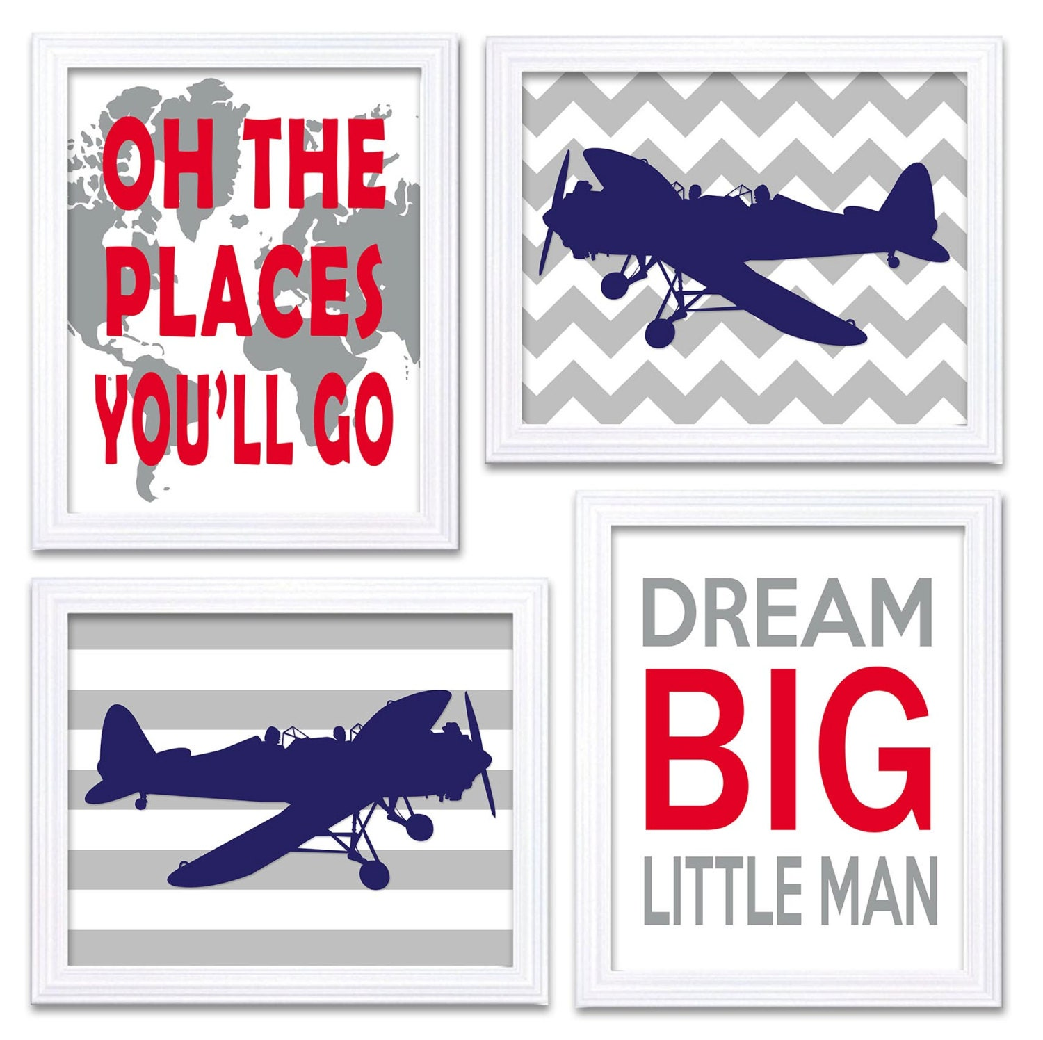 Airplane Plane Nursery Art Red Navy Blue Grey Nursery Print Set of 4 Transportation Dream Big Little