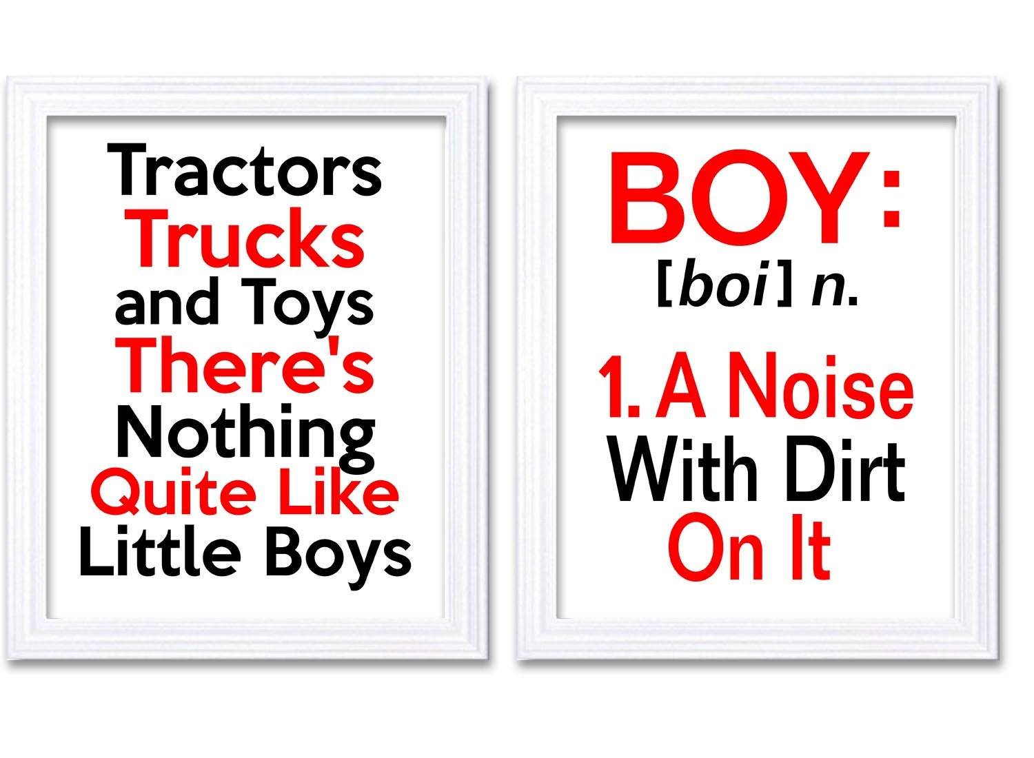 Nursery Art Tractors Trucks Toys Theres Nothing Quite Like Little Boys Prints Set of 2 Red Black BOY