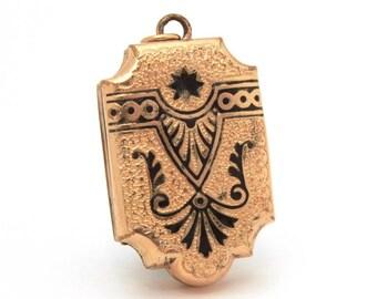 Victorian Mourning Locket, Antique Gold Filled Photo Locket Black Enamel Taille d'Epergne, Engraved Locket Necklace Pendant, Leaf Engraving