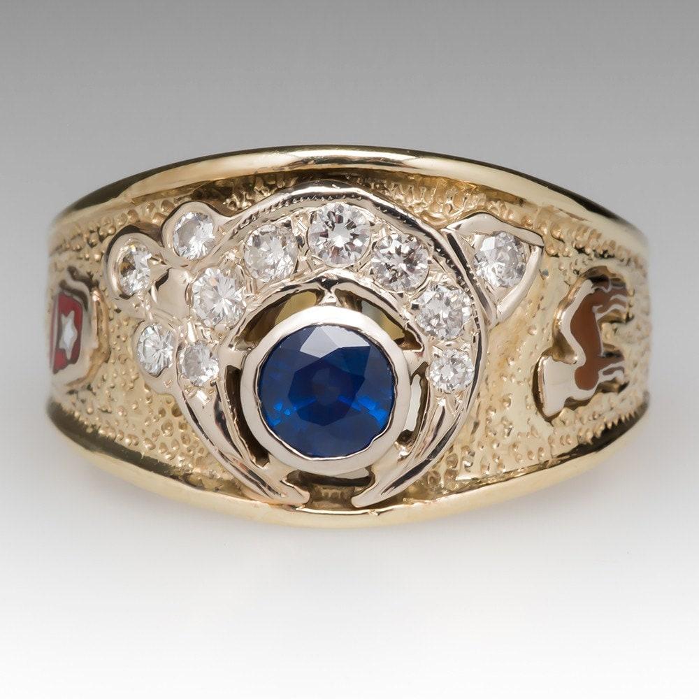 Blue Sapphire Masonic Rings