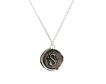 Antique Wax Seal Initial Necklace