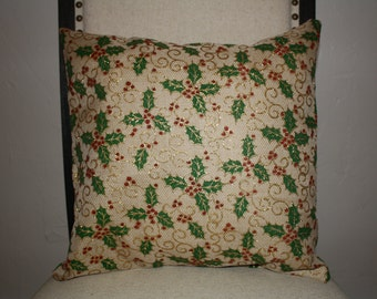 Pillow, Throw Pillow Cover, Burlap, Christmas Holly Pillow Cover 12x16, 16x16, 18x18