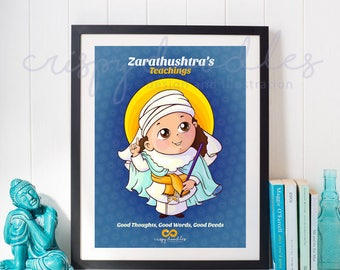 Baby Zarathushtra Zoroaster Poster - The parsi prophet - Art Print - Kids room art - 11 inches * 17 inches
