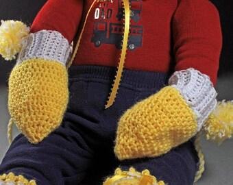 Baby Mittens, Crochet, Yellow Mittens, Unisex Mittens, Handmade, Infant Winter Mittens, 0-3 months, Hand Twisted String, Baby Shower Gift