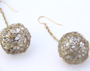 "Earrings, Brass Round Wire Ball Drop & Chain Dangle Earrings, 1"" Diameter, Gold Ear Wires Artisan Designed and Crafted 