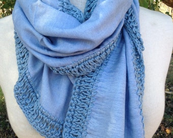 Pure Silk hand loomed Scarf w/ Sky Crochet