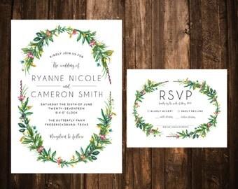 Wildflower Wreath Wedding Invitations; Printable OR set of 25