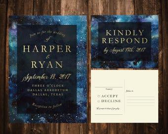 Night Sky Wedding Invitations; Green, Gold; Printable OR set of 25
