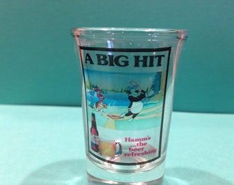 HTF, Vintage, Hamms beer bear shot glass