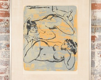 Playful Reclining women -Original Pencil Signed and numbered Lithograph 26/150