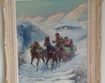 Gustav Prucha -Russian Wedding Party -Oil Painting on canvas -c.1910s  Oil Painting on Canvas