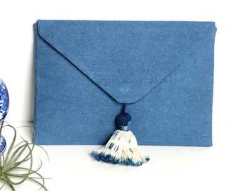 Denim Tassel Envelope Clutch Bag