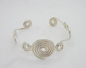 "Vintage Sterling Silver/925 Swirl Cuff Bangle Bracelet-7""; 20.2gr"
