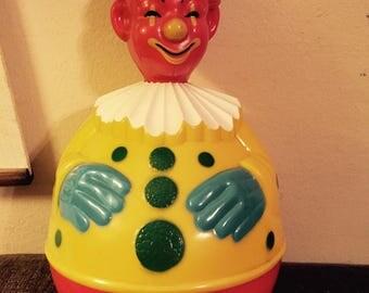 "Vntg 1930-40s CHIMED ROLY POLY Clown -Knickerbocker Plastic 11.5"""