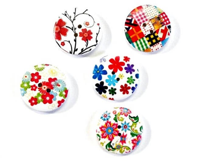 5 Assorted Mixed Buttons featuring the colours red blues and green