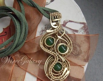 Pendant Brass Chrysoprase Protection amulet Wire wrapped Necklace Boho Gift for her Brass Jewelry Green stone