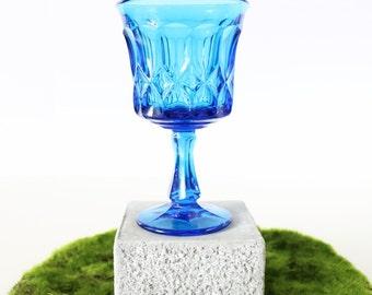 Pressed Glass Goblets - Blue, Set Of 2. Stem Wine Glasses. Blue Water Goblets. Vintage Drinking Goblets. Hostess Gifts & Wedding Gifts