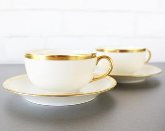 French Gold Rimmed Coffee Cup And Saucer Set - Teacups With Gold Rim - French Coffee Tea Cup And Saucer - Cappuccino Cups - Limoges China