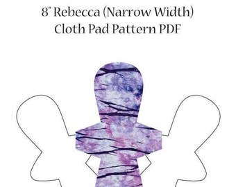 """The Happy Hippos 8"""" Rebecca Narrow Cloth Pad Sewing PDF Cloth Pad Pattern and Instructions. Full Photo Tutorial Included."""
