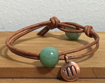 Personalized Green Aventurine Womens Leather Bracelet, Womens Personalized leather bracelet, Womens initial leather bracelet, C145